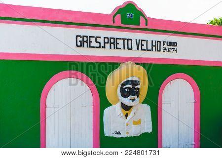 OLINDA, PERNAMBUCO, BRAZIL, JANUARY 29 - 2018 - Gres Preto Velho is a dance school located in Bispo Coutinho Street in Alto da Sé, tourist and cultural center of Olinda.