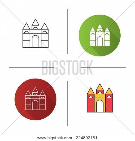 Castle building blocks icon. Flat design, linear and color styles. Isolated vector illustrations