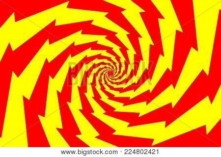 Spiral of rotating squares, Spiral from squares - red and yellow pattern