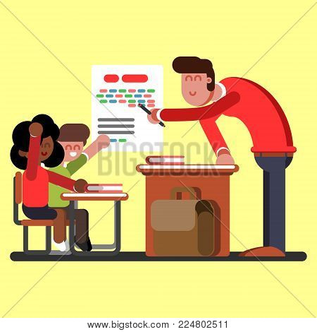 Boy and afro american girl on classes. Excellent Vector illustration, EPS 10