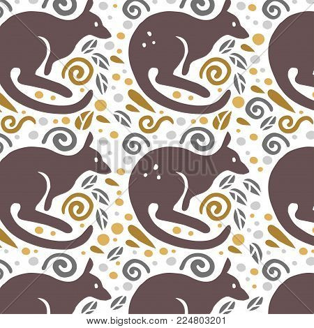 Vector flat seamless pattern with cute funny hand drawn animals silhouette isolated on white background. Perfect for packaging design, prints, banners etc.
