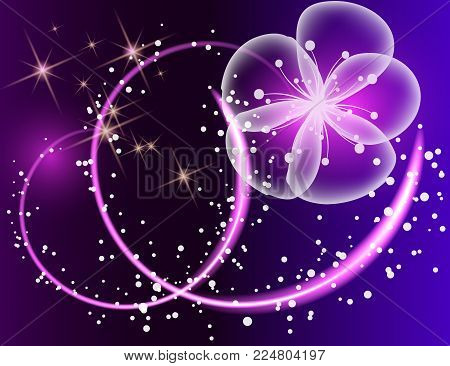 Glowing background with magic butterflies and light flowers.Transparent butterflies and glowing blooms.