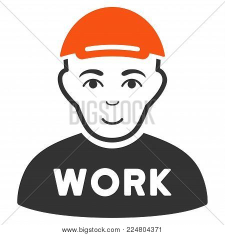 Jobless vector flat pictograph. Person face has glad feeling. A man in a cap.