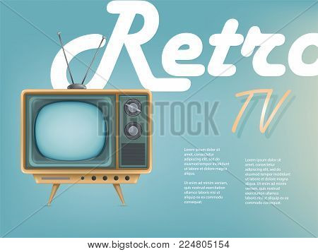 Vector poster of vintage tv set, television advertising. Retro electric video display for broadcasting, news. Communication, entertainment, technology promo banner for promotion, internet, networking