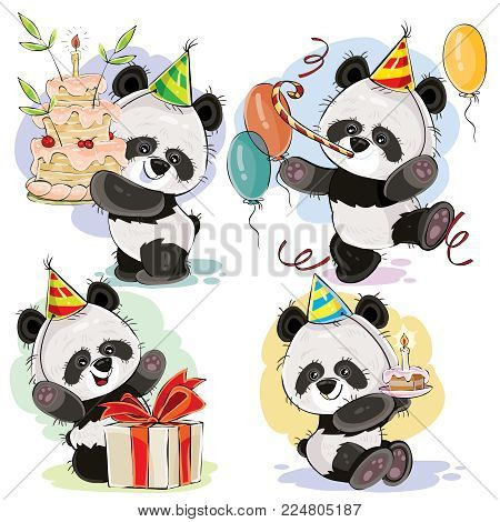 Set cute baby panda bears in cardboard hat, with birthday cake and candle, with gift box, balloons and whistle vector cartoon illustration. Happy birthday clipart for greeting cards, party invitations