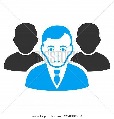 Team vector icon. Flat bicolor pictogram designed with blue and gray. Person face has joy sentiment.