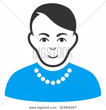 Trendy Guy vector icon. Flat bicolor pictogram designed with blue and gray. Human face has joy sentiment.