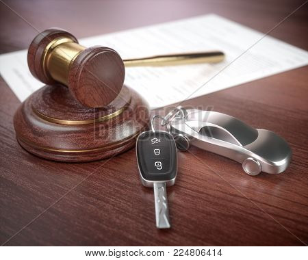 3D illustration. Auction hammer with golden details, a car key next to it and a contract in the background.