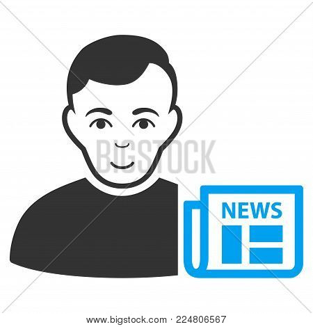User News vector pictograph. Flat bicolor pictogram designed with blue and gray. Human face has glad emotions.