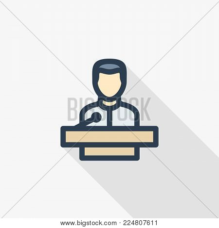 businessman conference, lecture, politics speaker thin line flat color icon. Linear vector illustration. Pictogram isolated on white background. Colorful long shadow design.