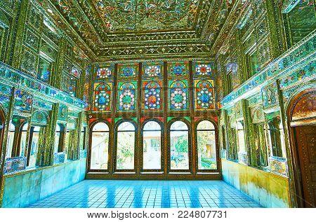 Shiraz, Iran - October 12, 2017: The Splendid Interior Of Mirror Hall In Zinat Ol-molk - Medieval Pe