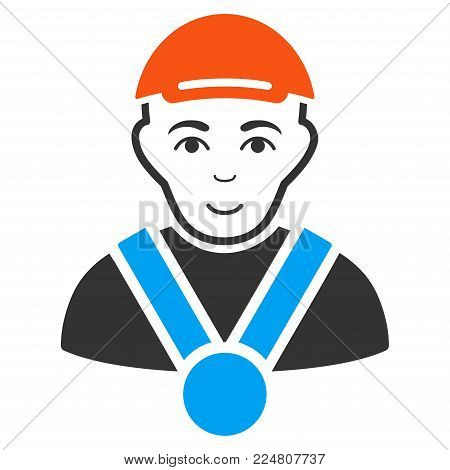 Champion vector flat pictograph. Human face has glad sentiment. A guy wearing a cap.