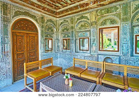 Shiraz, Iran - October 12, 2017: The  Zinat Ol-molk Mansion Includes Perfect Examples Of Traditional