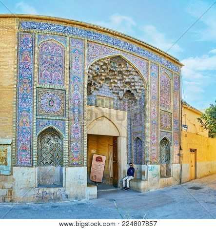 Shiraz, Iran - October 12, 2017: The  Richly Decorated Portal Is The Entrance To The Nasir Ol-molk M
