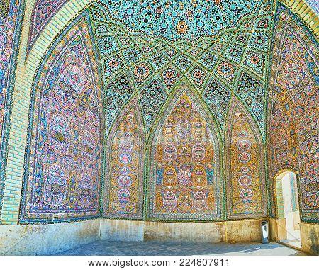 Shiraz, Iran - October 12, 2017: The Summer Hall Of Nasir Ol-molk Mosque Boasts  Complex Constructio