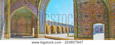 Shiraz, Iran - October 12, 2017: The Wide Panorama From The Covered Summer Hall Of Nasir Ol-molk Mos