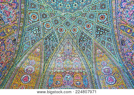Shiraz, Iran - October 12, 2017: Details Of The Semi-dome In Summer Hall Of Nasir Ol-molk Mosque Wit