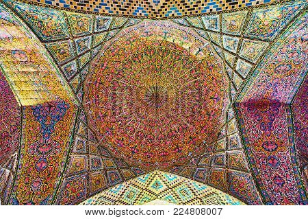 Shiraz, Iran - October 12, 2017: One Of The Numerous Domes Of Winter Hall Of Nasir Ol-molk Mosque Wi