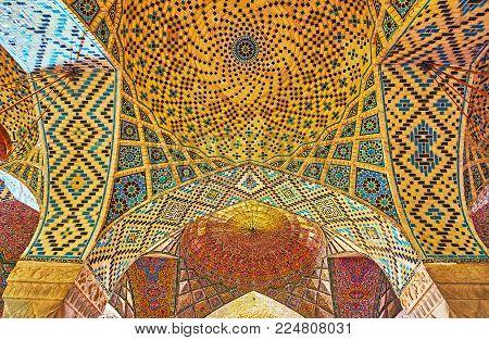 Shiraz, Iran - October 12, 2017: The Vault With Small Domes In Winter Prayer Hall Of Nasir Ol-molk M