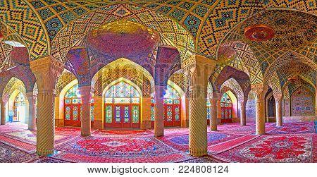 Shiraz, Iran - October 12, 2017: Panorama Of The Winter Prayer Hall Of The Pink Mosque (nasir Ol-mol