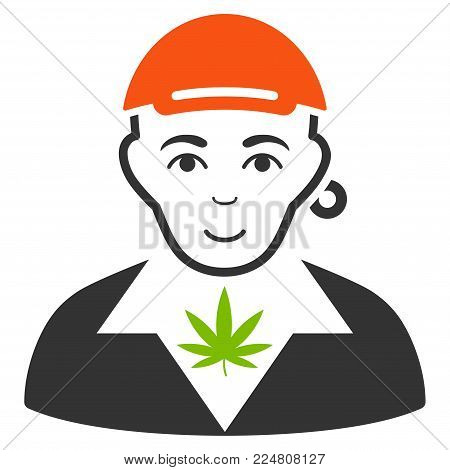 Marihuana Dealer vector flat pictograph. Human face has happy emotions. A person in a cap.