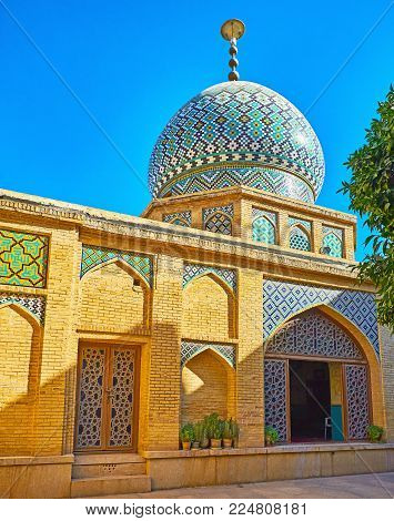 The Brick Facade Of Imamzadeh Jalal Addin Shrine With Colored Tiled Dome And Arched Niches, Nasir Ol