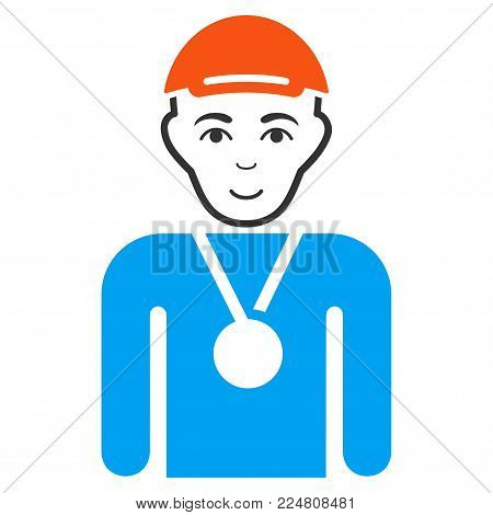 Champion vector flat icon. Human face has glad sentiment. A man wearing a cap.