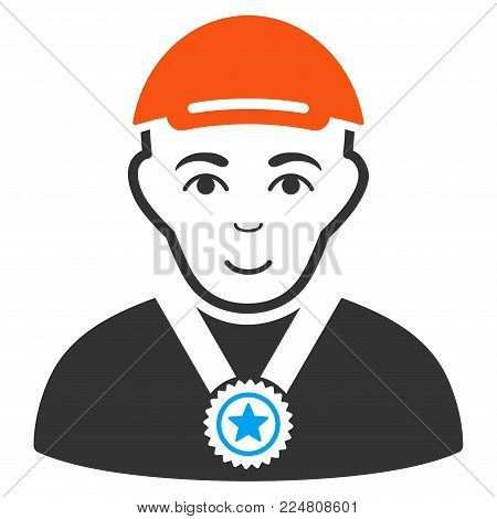 Champion vector flat pictograph. Human face has gladness feeling. A dude dressed with a cap. poster