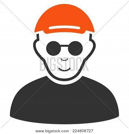 Blind Man vector flat pictogram. Human face has joy sentiment. A dude wearing a cap.