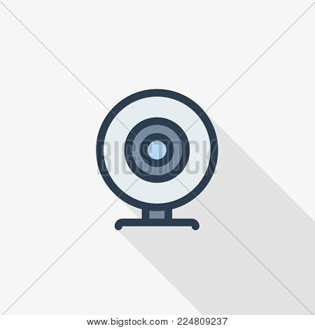 Web Camera thin line flat color icon. Linear vector illustration. Pictogram isolated on white background. Colorful long shadow design.