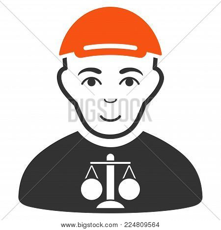 Judge vector flat pictograph. Human face has happiness emotion. A person with a cap.