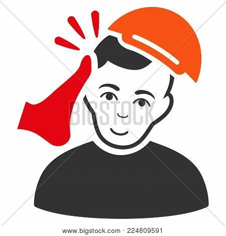 Kickboxer Victim vector flat icon. Human face has positive mood. A person with a cap.