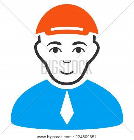 Lawyer vector flat pictogram. Human face has cheerful mood. A person wearing a cap.