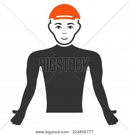 Man Body vector flat pictograph. Human face has joy emotion. A male person in a cap.
