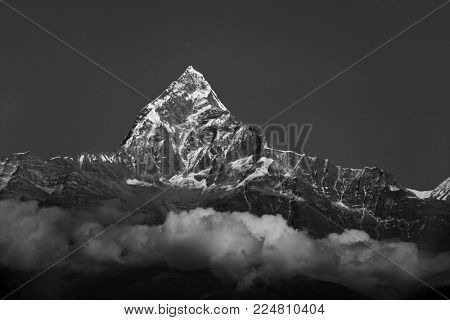 The Machapuchare in Nepal. Black and white photography.