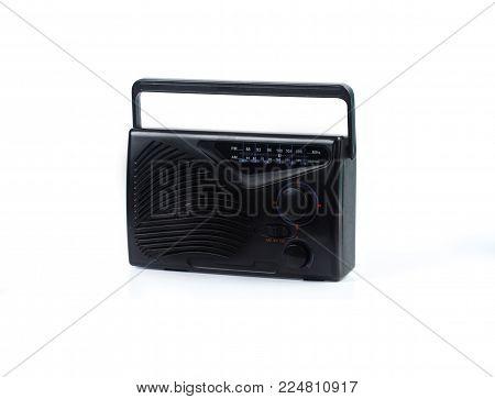Vintage Old Transistor Radio On White Background Isolate