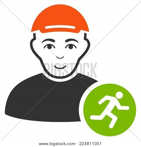Runner vector flat icon. Person face has joy emotion. A man with a cap.