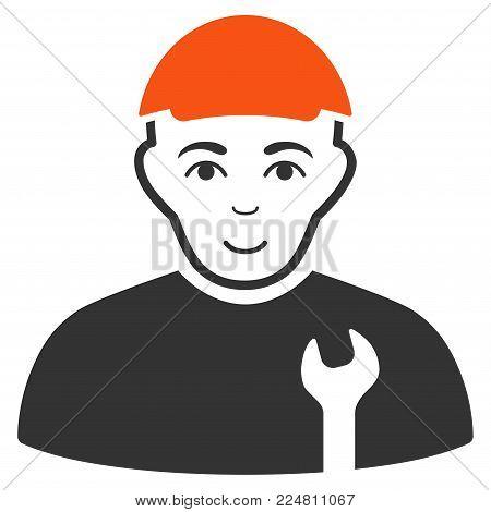 Serviceman vector flat pictogram. Person face has joy sentiment. A person wearing a cap.