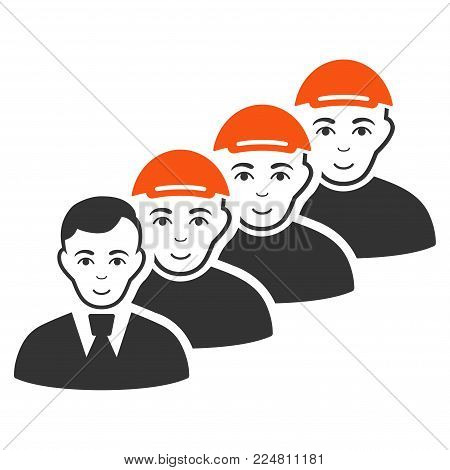 Team Manager vector flat pictograph. Human face has joy mood. A person dressed with a cap.