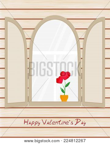 Arch window with shutters, red flower as heart in pot, greeting inscription on wooden wall - Happy Valentine's Day, greeting card