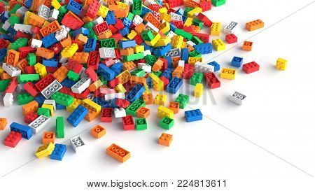 Pile of colored toy bricks on white background. 3D Rendering
