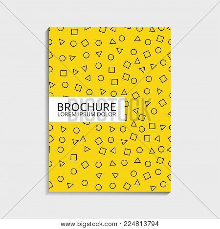Covers design for brochure with memphis pattern - abstract dinamic shapes - circle, square, triangle. Modern trendy vector illustration.