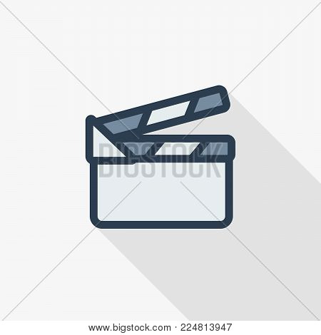 movie clapperboard thin line flat color icon. Linear vector illustration. Pictogram isolated on white background. Colorful long shadow design.