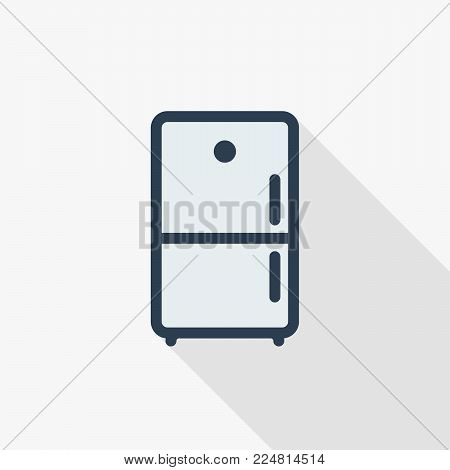 Refrigerator thin line flat color icon. Linear vector illustration. Pictogram isolated on white background. Colorful long shadow design.