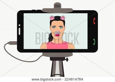 Female Selfie photo on smartphone in monopod with animal face elements - ears and nos, mouse mask. Vector illustration.