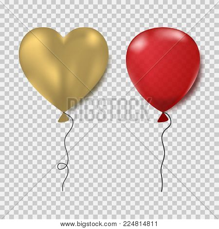 Ballons set. Red oval and gold heart form. Realistic decorations for party, birthday, Valentine`s day and outher celebrations. Vector illustration.