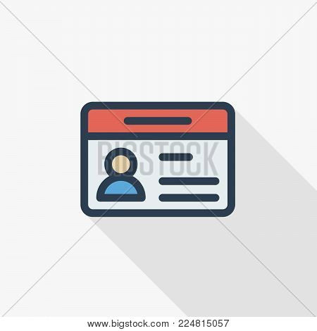 car driver, driving license, id card thin line flat icon. Linear vector illustration. Pictogram isolated on white background. Colorful long shadow design.