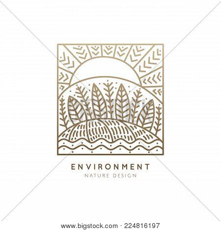 Vector squire logo of nature elements. Linear icon of landscape with trees, river, fields and sun - business emblems, badge for a travel, farming and ecology concepts, health and yoga Center.