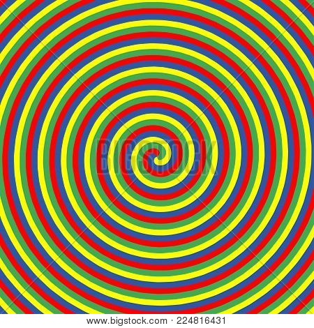 Hypnotic color circles. Collection of colorful psychedelic spiral backgrounds. Abstract hypnosis optical illusion swirls. Vector illustration.