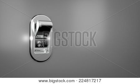 3D illustration / rendering of a chrome light switch in the OFF position on a gray wall